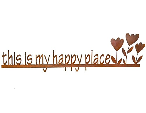 (Modern Artisans This is My Happy Place - Rust Metal Garden Wall Art Sign, American)