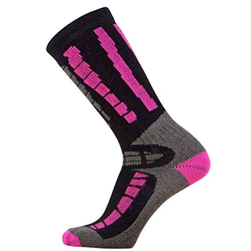 - Youth Ski Socks - Merino Wool Children Skiing / Snowboard Sock - Junior OTC Ski Socks (S/M, Black/Neon Pink)
