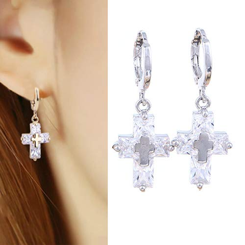 Baost 1Pair Luxury Cubic Zirconia Dangle Drop Hoop Earrings Crystal Cross Inlay Charm Pendant Stud Earring Banquet Jewelry Gift for Women Girls Silver
