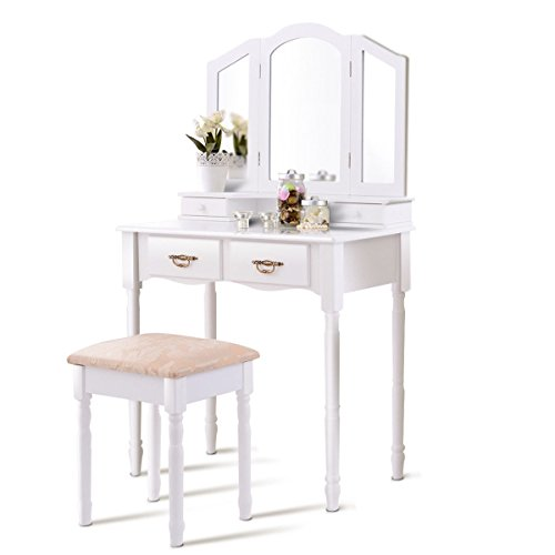 Vanity Set, WATERJOY Tri-Folding Mirror Makeup Vanity Table Set with Cushioned Stool Mirror Table Set Home Furniture 4 Drawer (White)