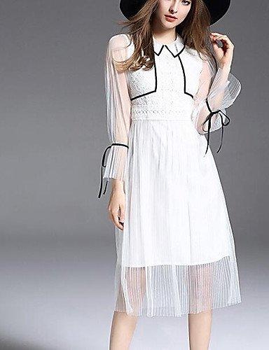 Cintura Blanco 4 Elástica Vestido Fiesta JIALELE Pura Fiesta Mujer Cuello De Redondo Manga 3 Vestido x4PqCS
