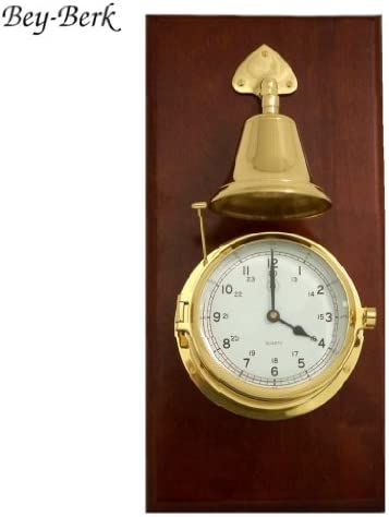 Bey-Berk 真鍮 印象的な時計 マホガニーのベル付き 変色防止