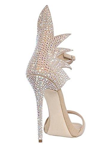 Amy Buckle Gladiator Comfortable Q Open Sandals Rhinestone Size High Stiletto Shoes Heel Toe Big Beige TtrTqxR7w
