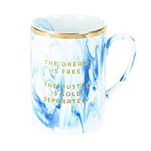 """C.R. Gibson 16 oz Stoneware Marble Coffee Mug, Dishwasher & Microwave Safe, Measures 4.6"""" W x 3.25"""" - The Dream Is Free Hustle Sold Separately"""