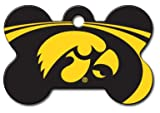 Personalized Laser Engraved 1.5 x 1 inch Iowa Hawkeyes Bone Shape Pet ID Tag - Free Tag Silencer