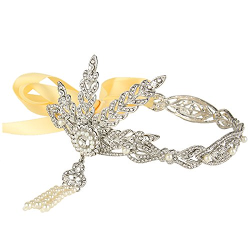 EVER FAITH Wedding 4 Leaf Headband The Great Gatsby Inspired Clear Austrian Crystal Silver-Tone by EVER FAITH