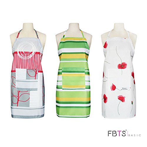 Aprons (Set Of 3) Adjustable Height With Front Pocket For Women And Men Waterproof Durable Comfortable Easy Care Kitchen Cooking Restaurant Garden BBQ by FBTS Basic