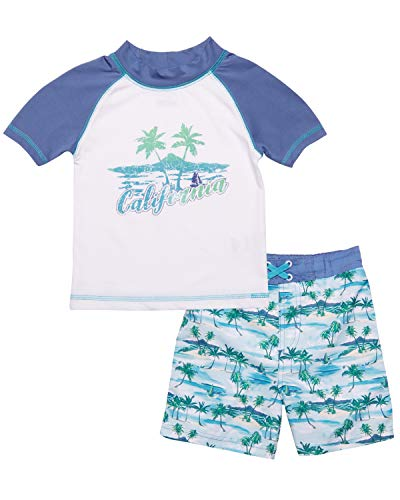 Mick Mack Baby Boys 2-Piece Rash Guard and Trunk Swimsuit Set (Infant & Toddler), California, Size Toddler 3T'