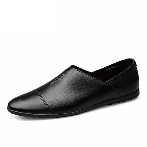 leggero tacco stile Mocassino slip mocassino on con da Dimensione pelle Color piatto in minimalista 39 uomo shoes EU Meimei foderata Nero 6Agqw8x