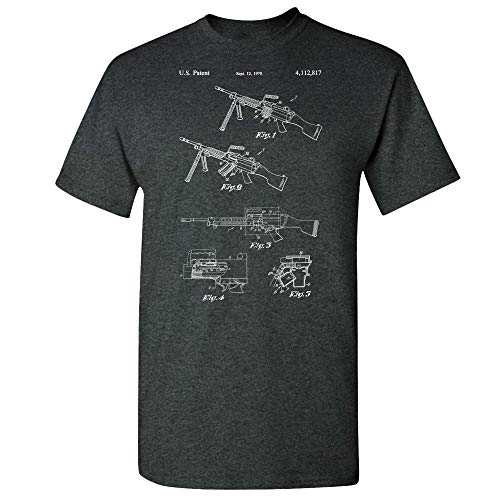 M249 Saw Machine Gun T-Shirt, 50 Cal, Military Gift, Gun Club, Modern Warfare, US Army Soldier, Navy Marines Dark Heather (3XL)