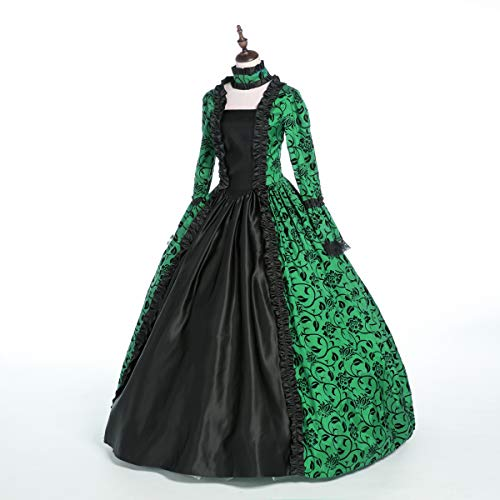 CountryWomen Renaissance Gothic Dark Queen Dress Ball Gown Steampunk Vampire Halloween Costume (M, Green)
