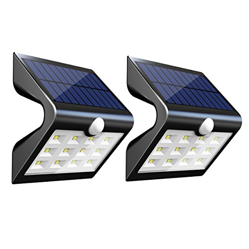 InnoGear 2nd Version 14 LED Solar Lights with Rear Projection Outdoor Motion Sensor Activated Security Night Light Auto On/Off Wall Lamp for Path Patio Yard Deck Porch Garden Fence, Pack of 2