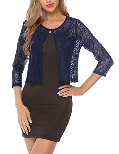 - Abollria Women's Lace Shrug Sheer Cropped Bolero Cardigan Jacket Navy Blue