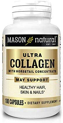 Mason Natural, Ultra Collagen Beauty Formula Capsules, 100-Count Bottle, Dietary Supplement Made with 100% Pure Collagen Supports Healthy, Flexible and Strong Skin and Tissue