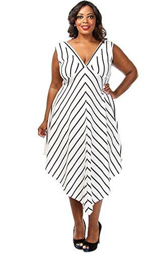 Damen plus Größe weiß amp; schwarz gestreift Taschentuch Hemline ...
