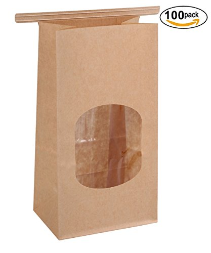 BagDream Bakery Bags with Window Wax Kraft Paper Bags 100Pcs 3.54x2.36x6.7