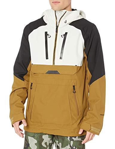 Volcom Men's Brighton Pullover 2 Layer Snow Jacket, Caramel, Small