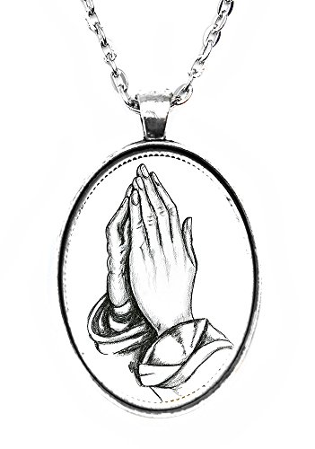 - Praying Hands Huge 30x40mm Handmade Silver Pendant