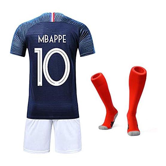Garçon Ensemble de Vêtements de Sport T-Shirt et Short Coupe du Monde France 2 étoiles Football