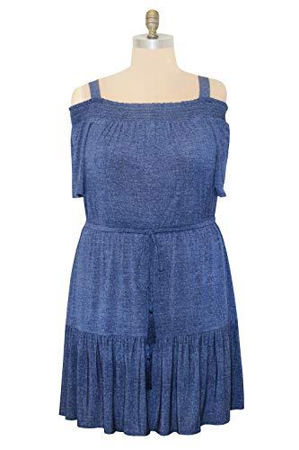 London Times Women's Plus Size Off The Shoulder Jersey Blouson Dress, Denim, 18W