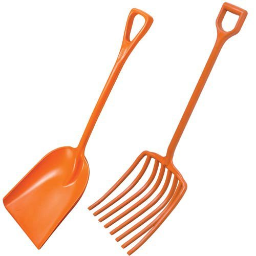 AM Leonard Poly Scoop Shovel and Scoop Fork with D-Grip Handles - 42 Inch Length, Orange