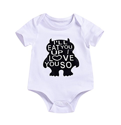 Newborn Baby Boy Clothes Monster Cartoon Letter Rompers Jumpsuit (White, 0-6 Months) ()