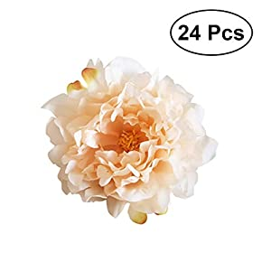 VORCOOL 24Pcs Crepe Flowers Peony Handcrafted Flowers Artificial Flower Heads Silk Flowers for Wedding Bouquets Centerpieces Party Baby Shower Decorations 17
