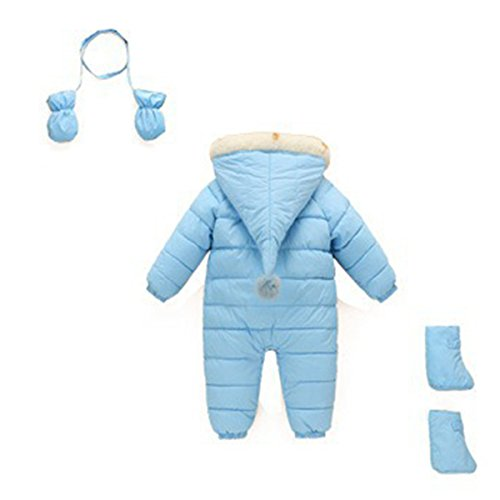 Warm 6 Outerwear Down Romper Puffer Thick Happy Hooded Months Jumpsuit Cherry Snowsuit Baby Blue 48 Sky Winter Jacket wHxcOCqg0