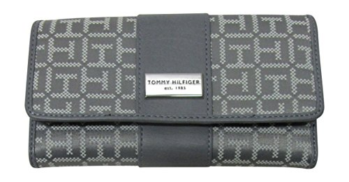- Tommy Hilfiger Womens Continental Wallet Monogram Fabric Large Wallet TH (Grey Tonal)
