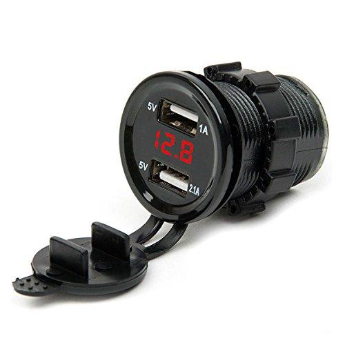 Cigarette Lighter Socket, Leyeet Dual USB Portable Waterproof LED Digital Display Voltage Power Adapter Charger Outlet for 12V/24V Car Marine Motorcycle (Red)