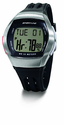 (Sportline Men's Duo 1010 Dual Use Heart Rate Monitor - Silver with Black Strap)