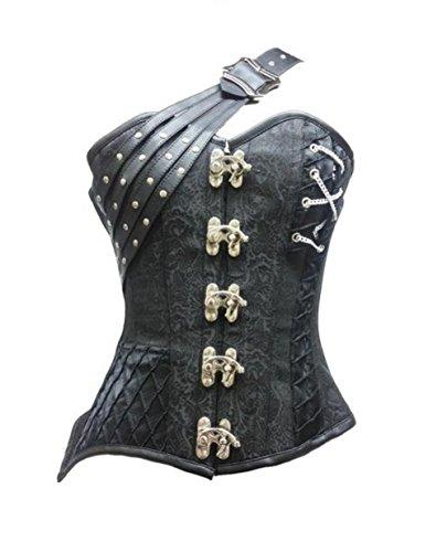 否定するピービッシュ同級生Black Brocade Leather Belt Goth Steampunk Basque Fantasy Costume Overbust Corset