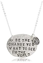 "Alisa Michelle ""Words To Live By"" Sterling Silver Plated Be The Change Stamp Charm Necklace"