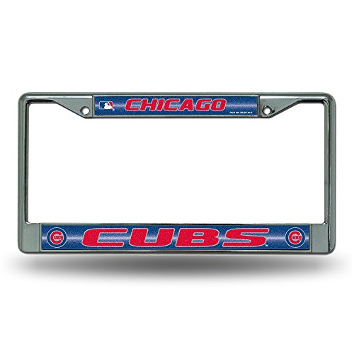 Rico MLB Chicago Cubs Bling License Plate Frame, Chrome, 12 x 6-Inch