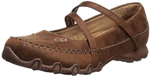 Skechers Women's Bikers-Free Thinker-Whipstitched Mary Jane Flat, Brown, 11 M US