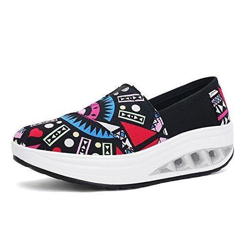 Lz-mzf9006heise37 Donne Enllerviid Slip On Sneakers Di Tela Piattaforma Multicolor Shape Up Scarpe Da Trekking Fintess Nere 6 B (m) Us