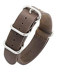 Nato Strap Crazy Horse Leather Watch Band 18mm 20mm 22mm Top Grain Genuine Leather Watch Strap Premium Zulu Military Leather Watch Bands for Men and Women with Stainless Steel Buckle (18mm, Dark Brown)