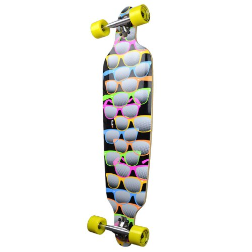 Shades Black YOCAHER Professional Speed Drop Through Stained Complete Longboard