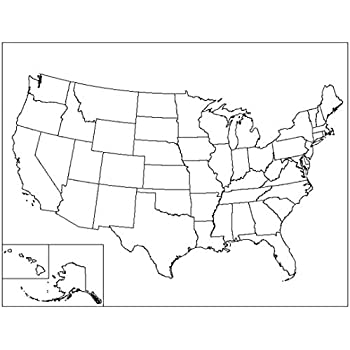 Amazon.com: Home Comforts Laminated Map - Outline Map Us ...