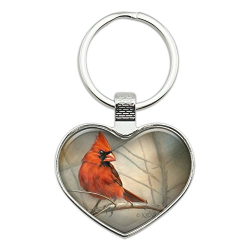 - Cardinal Red Bird on Tree Branch Heart Love Metal Keychain Key Chain Ring