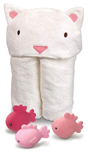 Hooded Soft Baby Unisex Cat Towel With Floating Bath Fish Toy Set, One Size ()