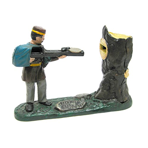 Design Toscano Creedmoor Rifle Range Hunter Collectors' Die Cast Iron Mechanical Coin Bank