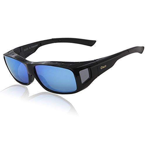 c55e7b04cc2 Duco Unisex Wear Over Prescription Glasses Rx Glasses Polarized Sunglasses  8953 (Plus Size Black Revo Blue)