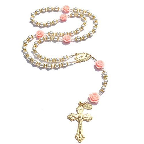 Rana Jabero Glass Pearl and Peach Flower Rose Gold Prayer Catholic Rosary (Rosary Necklace Rose Gold)