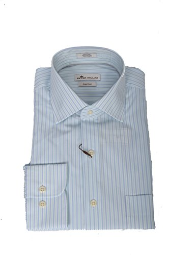 Peter Millar Summer Stripe Sport Shirt (Bay Blue, M) by PETER MILLAR