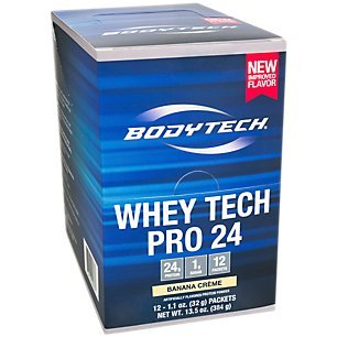 Banana Whey Pro - BodyTech Whey Tech Pro 24 Protein Powder Protein Enzyme Blend with BCAA's to Fuel Muscle Growth Recovery, Ideal for PostWorkout Muscle Building Banana Crème (12 Packets)