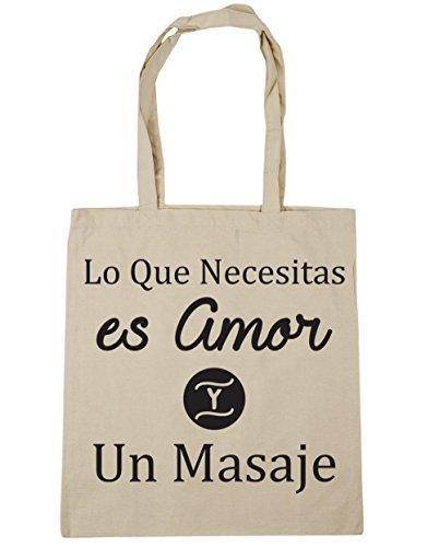 HippoWarehouse Lo Que Necesitas es Amor Y Un Masaje Bolso de Playa Bolsa Compra Con Asas para gimnasio 42cm x 38cm 10 litros capacidad Natural