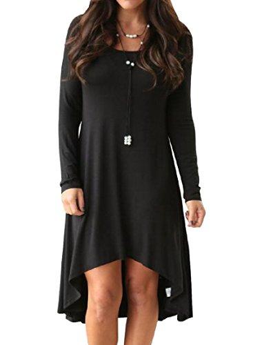 Coolred-femmes Solides Manches Longues Ourlet Asymétrique Robe Pull-over Noir Quotidien