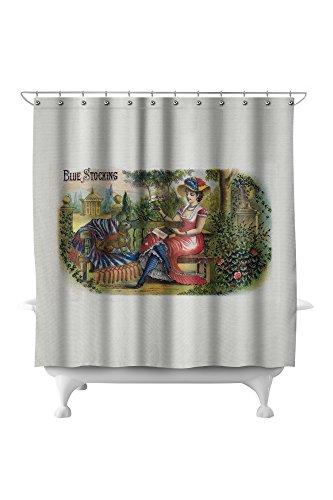 Blue Stocking Brand Cigar Box Label (71x74 Polyester Shower Curtain)