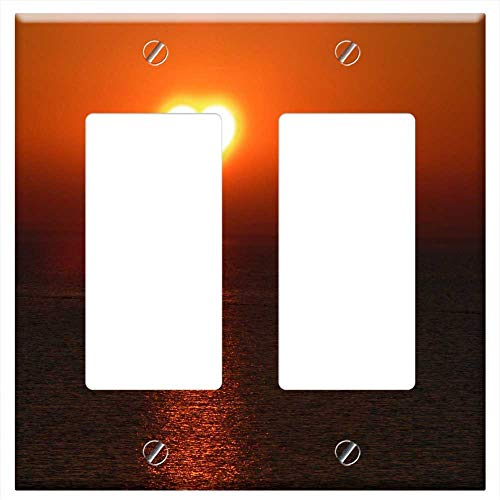 Switch Plate Double Rocker/GFCI - Vitamin D3 Bless You Live Background Texture Sun